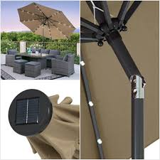 Solar Led Patio Umbrella by 5 Best Patio Umbrella With Solar Lights Cheap Led Powered Light