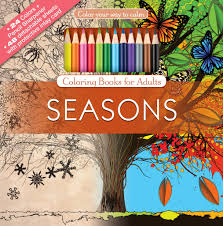 Seasons Adult Coloring Book With Colored Pencils Cover