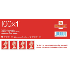 Royal Mail First Class Stamps Pack 100 Colyer Repropoint