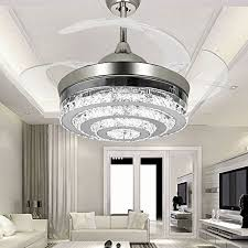 Crystal Ceiling Fans With Lights Retractable 4Blade Remote Control Lights42 Inch Chandelier LED For Indoor Outdoor Living Dining Room