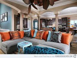 Brown Couch Living Room Colors by 15 Stunning Living Room Designs With Brown Blue And Orange