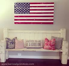 Large Hand Painted And Distressed American Flag