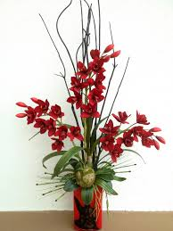 Red Velvet Orchid With Black Bamboo Arrangement Designed By Arcadia Floral Home Decor