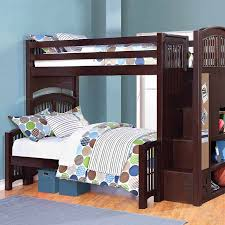 bunk beds twin over full with stairs blue modern storage twin