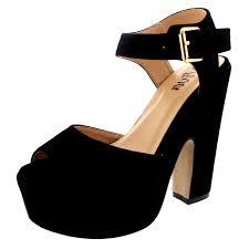 womens pumps evening ankle strap shoes platform party faux suede