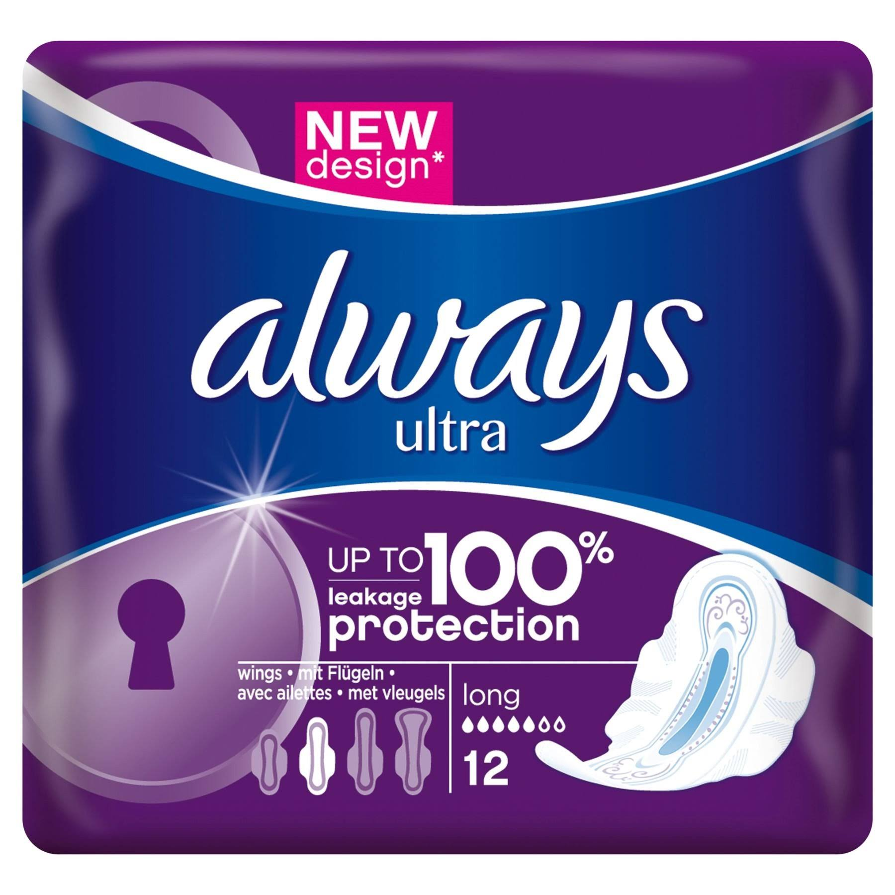 Always Ultra Long Sanitary Napkins - 12ct