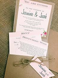 Jasmine Vintage Rustic Pocket Floral Wedding Invitation Sample With Two Insert Cards And