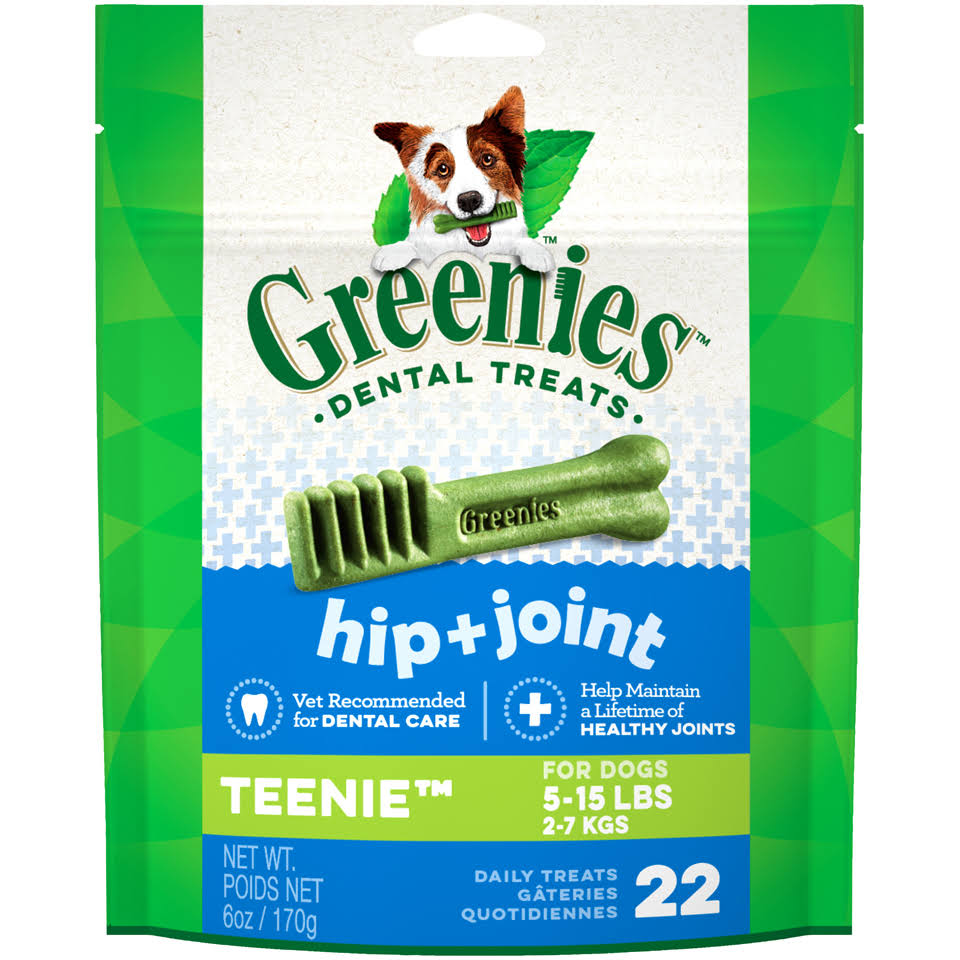 Greenies Teenie Dental Dog Chews - Hip and Joint Care, 22 Chews, 6oz