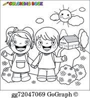 Coloring Book Kids At School