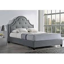 amazon com baxton studio colchester linen modern platform bed