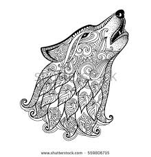 Hand Drawn Wolf Side View With Ethnic Floral Doodle Pattern Coloring Page Zentangle Design