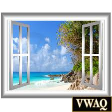 Wall Mural Decals Beach by Coastline 3d Window Frame Vinyl Decal Beach Scene Wall Decal