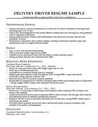 Delivery Driver Resume Sample Download