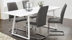 schwingstuhl benno 4er set stuhl webstoff grau und chrom