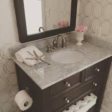 Room with Graham and Brown Darcy Wallpaper and Espresso Single Vanity
