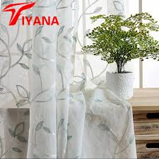 Rustic Style Cotton Embroidered Leaves Yarn Sheer Curtains For Living Room Bay Window Kitchen Curtain Silver
