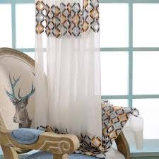 Geometric Pattern Sheer Curtains by Beige Geometric Modern Embroidery Curtains