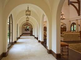 Rustic Hanging Lighting Hallway Decorating Idea Plus Arched Doorway And Beautiful Floor Tile Design