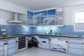 blue white mini compact kitchen design with blue tile wall