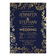 Elegant Navy Blue Gold Floral Wedding Invites Rustic Invitation