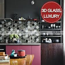 decorative hexagon pattern cracked ceramic 3d glass kitchen