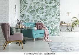 monstera tapete im wohnzimmer helle wohnung mit weißer