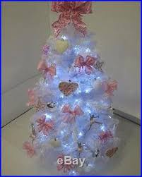 Pre Lit White Christmas Tree With Pink Silver Decorations