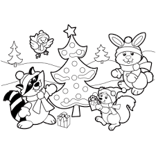 Holiday Scene Coloring Page