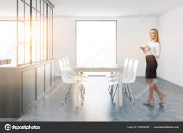 Blonde Businesswoman White Gray Dining Room Interior Concrete Floor ... Blonde Woman In Black Kitchen Ding Room Side Stock Image Art Deco Table Plus 4 Matching Chairs 509692 Ball And Claw Pladelphia Chair Kennedy Ding Suite With Benson Chairs Focus On Fniture Drexel Heritage Compatibles Wood Set Four City Brewing Publicans Gathering W Lager Alf Italy Modern Chairish Stunning Retro Ercol Vintage Light Brooklyn Home Tour Style Drop Leaf Quaker Back Mcm Blonde Splayed Leg Table 5 Picked 54 Round Elegant Pine Center Or Intended