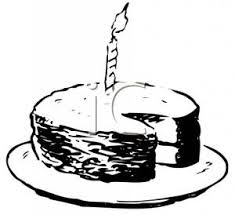 Black and White Birthday Cake With a Slice Missing Royalty Free Clipart Picture