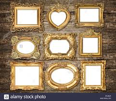 Baroque Style Golden Frames Over Rustic Wooden Background Antique