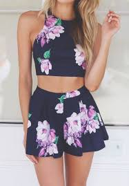 Summer Fashion Floral Two Piece Outfit