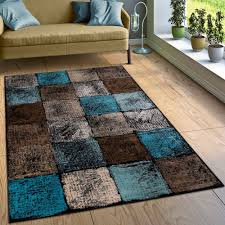 designer teppich karo türkis grün grau teppich wohnzimmer
