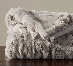 Ruched Faux Fur Throw Gray