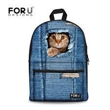 forudesigns mignon 3d chat femmes toile sac à dos pour les