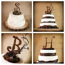 Initial Rustic Wedding Cake Toppers