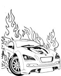 Race Car Coloring Pages On Fire