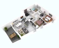 100 Bungalow House Interior Design 25 More 2 Bedroom 3D Floor Plans
