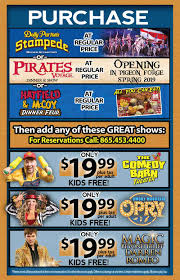 Smoky Mountains - Pigeon Forge Coupons - Gatlinburg Discount Coupons 2019 Season Passes Silver Dollar City Online Coupon Code For Dixie Stampede Dollywood Tickets Christmas Comes To Life At Dolly Partons Stampede This Holiday Coupons And Discount Dinner Show Pigeon Forge Tn Branson Ticket Travel Coupon Mo Smoky Mountain Book Tennessee Smokies Goguide Map 82019 Pages 1 32