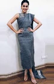The Grey Self Striped Outfit By Nikita Mhaisalkar Was A Dress Saree Hybrid And Nothing Like Weve Ever Seen Before While Attire Looked