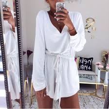 Jumpsuit White Shorts Summer Dress Casual Romper Short Bodysuit Outfits Long Sleeves Cute Girl
