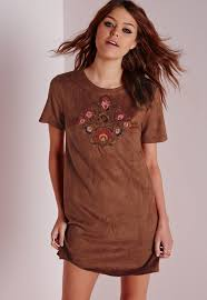 missguided embroidered faux suede shift dress tan in brown lyst