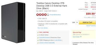 toshiba canvio desk 3tb usb 3 0 external hard drive for 99 99