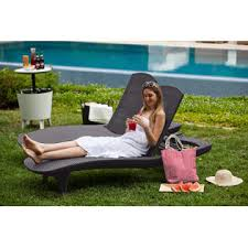 Keter Rattan Lounge Chairs by Keter 2 Pack All Weather Adjustable Outdoor Patio Chaise Lounge