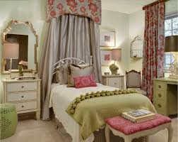 Beautiful Traditional Kids Bedroom With Valance Over White Iron Bed Next To Gallery Wall And Flower