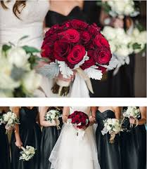 Black White Red Wedding Theme Traditional Round Rose Dusty Miller