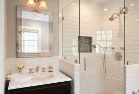 white subway tile shower ideas for sleek looking bathroom