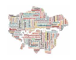 London Map Typography Color Typographical Poster Print