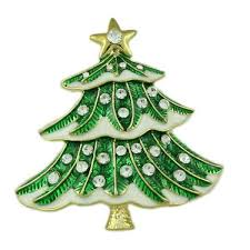 Green And White Crystal Christmas Tree Pin