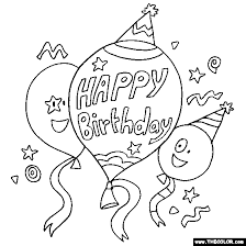 Happy Birthday Balloons Online Coloring Page